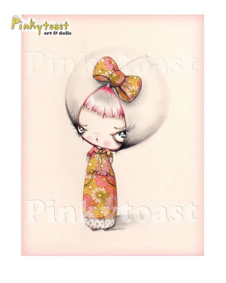 Sweet Pink Kokeshi Girl-Big Eye Spring Blossom-Pinkytoast Art Print. $13.00, via Etsy.