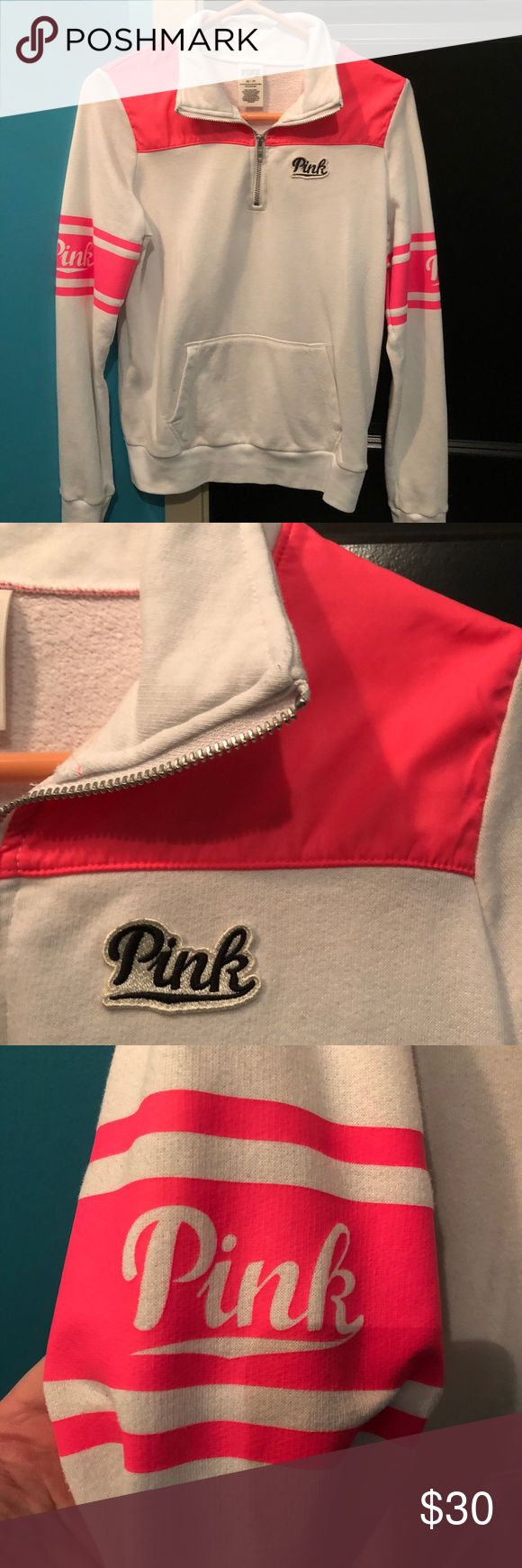 VS PINK Half Zip Windbreaker Sweatshirt Patch Great condition hardly worn VS PINK pink Half Zip Sweatshirt with PINK patch. It has a pink windbreaker material on the shoulders and part of the back. Says PINK on the arms. Super cute but it doesn't fit me any more. Size XS but could also fit an S and possibly a M. Please feel free to ask any questions! Thanks!💖✨🌿 PINK Victoria's Secret Tops Sweatshirts & Hoodies