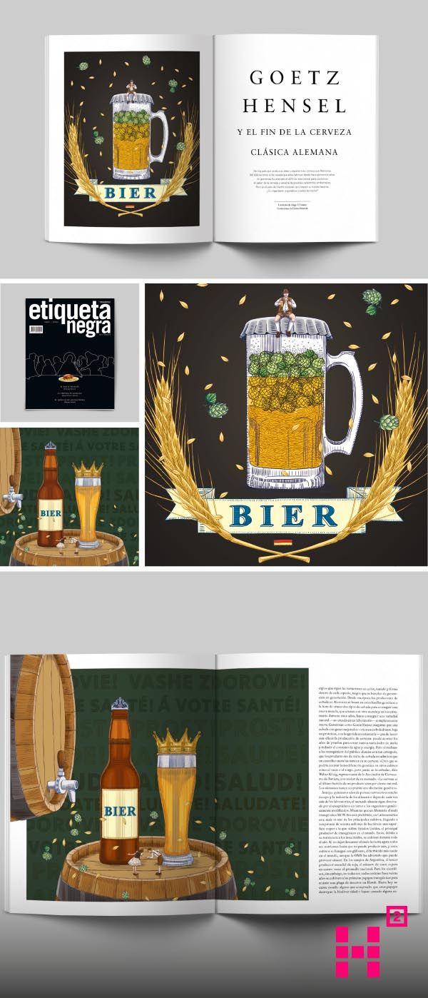 #Ilustración de la #cerveza clásica #alemana para la edición N. 128 de la #revista Etiqueta Negra.
