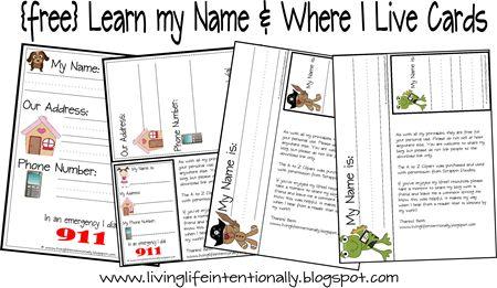 Free #Homeschool Printables: Learn My Name & Address