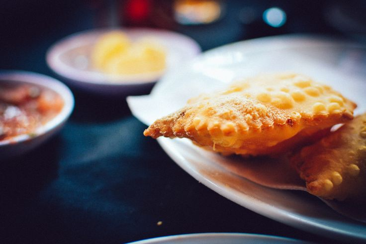 Fried seafood empanada in the Central Market (Mercado Central) in Santiago, Chile. http://www.raices.co.uk