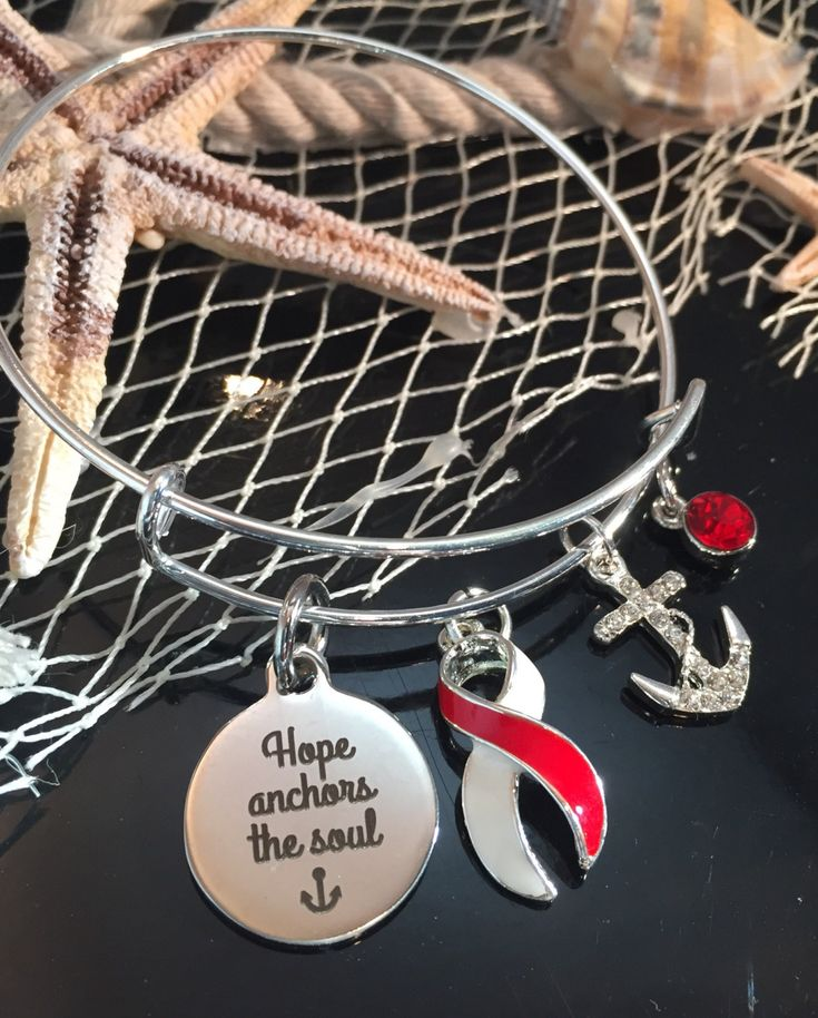 Red and White Ribbon Charm Bracelet / Hope Anchors / Aplastic Anemia, Head and Neck Oral Cancer Survivor, Squamous Cell Carcinoma by RockYourCauseJewelry on Etsy
