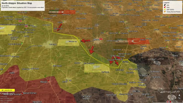 North #Aleppo (Shehba Dam) Situation Map  22-10-2016 #Syria #Rebels & #Turkey vs #ISIS vs #SDF #EuphratesShield en.hawarnews.com/an-attack-repe…