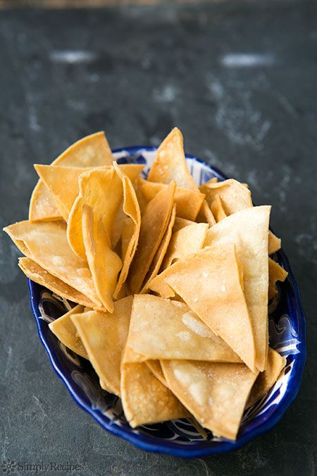 How to Make Homemade Tortilla Chips from Simply Recipes.  Tried the baked version today and it was good - definitely a keeper!