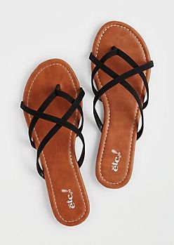 Black Strappy Flip Flops