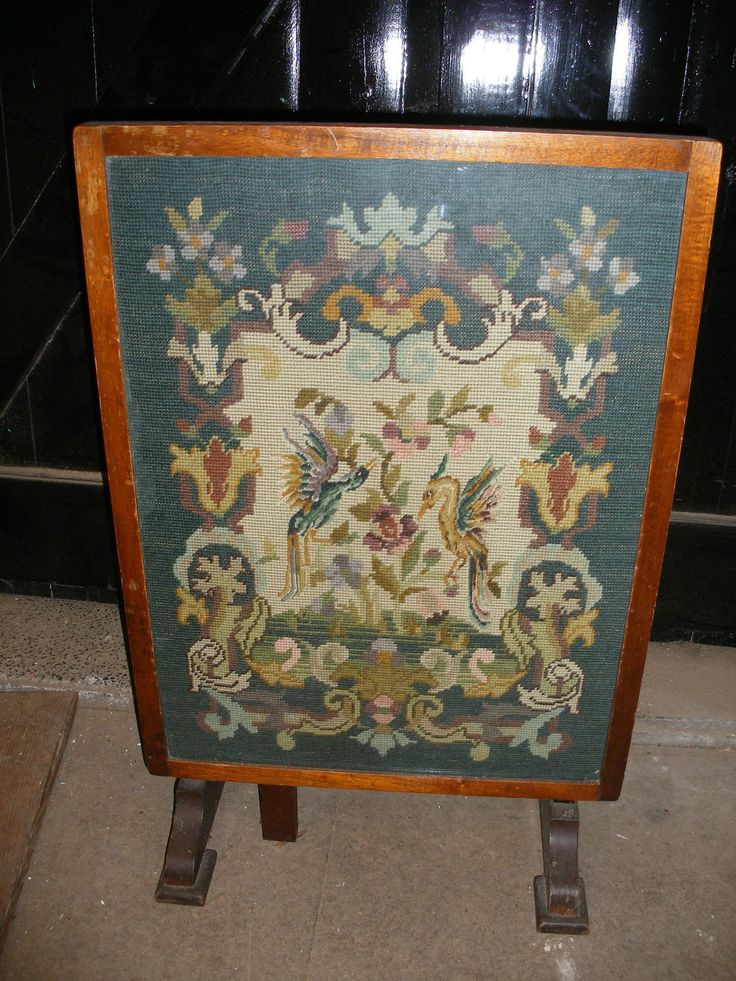 Antique Mahogany Tapestry Fire Screen Coffee Table