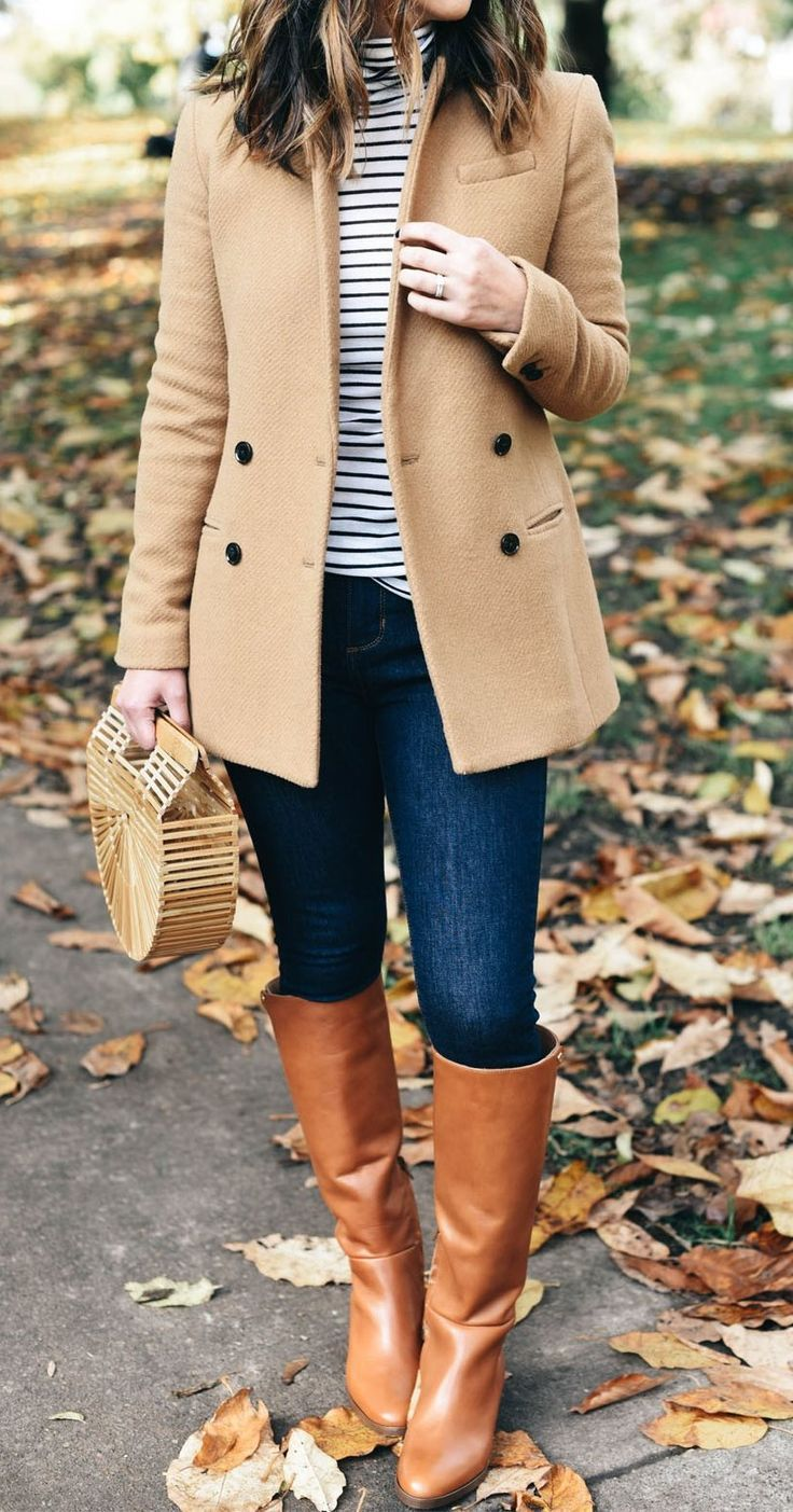 #fall #outfits ·  Banana Republic Blazer // J.Crew Turtleneck // Banana Republic Jeans // J.Crew Boots // Cult Gaia Clutch // Ray-Ban Round Sunglasses S