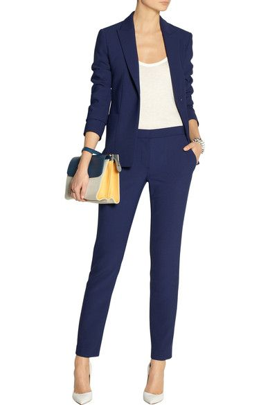 Blue stretch-scuba Welt pockets, fully lined Button fastening at front 65% polyester, 32% viscose, 3% elastane; fabric2: 75% wool, 25% polyamide; lining: 93% silk, 7% spandex Dry clean Designer color: Imperial Blue