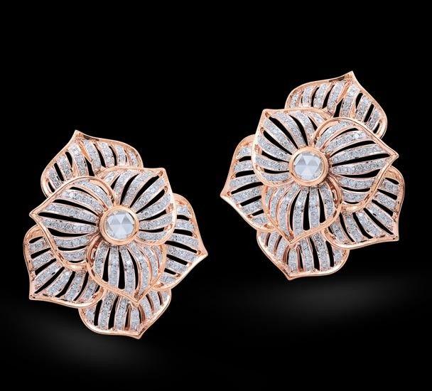 Rosamaria G Frangini | MyPinkJewellery | Diamond & Rose Cut Earring Diamond & rose cut earrings set in 18k rose gold.