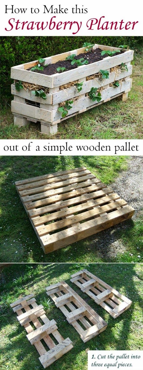 Make a Strawberry planter by pallets