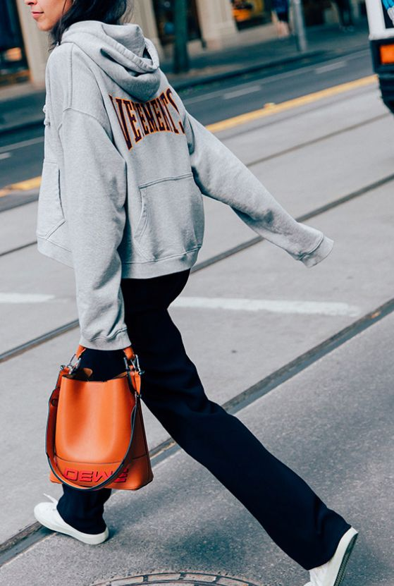 Perfect way to make a graphic hoodie look chic.