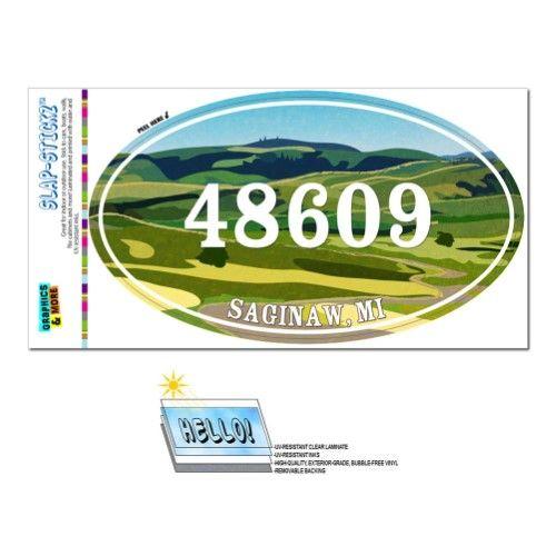 48609 Saginaw Mi Green Rolling Hills Oval Zip Code Sticker