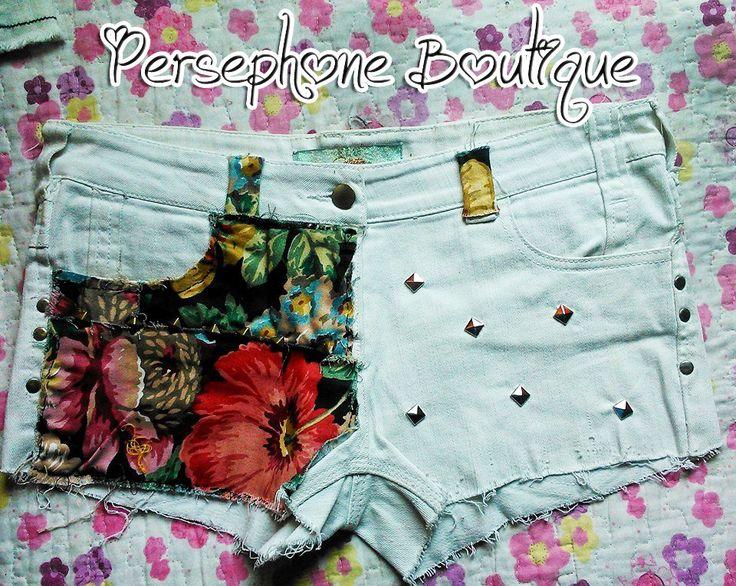 #white #costumizer #DIY #tachas #short #shorts #flower #vintage #make