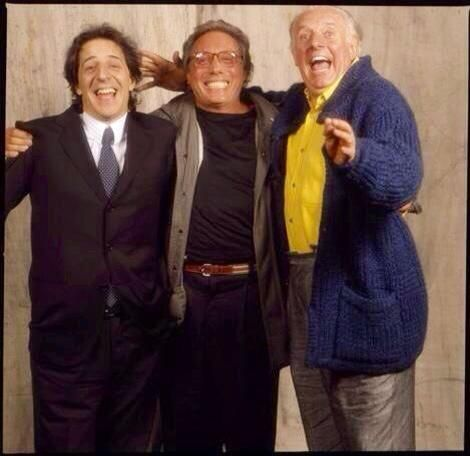 From left: Giorgio Gaber, Enzo Jannacci e Dario Fo