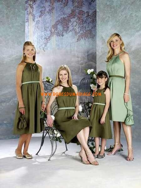 Modest vert Olive Pourmele Junior Robe de demoestelle d'honneur