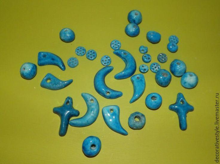 Купить Амулеты из керамики и голубой глазури из Ирана - бусины, Амулеты, бирюзовый, голубая глазурь, Керамика