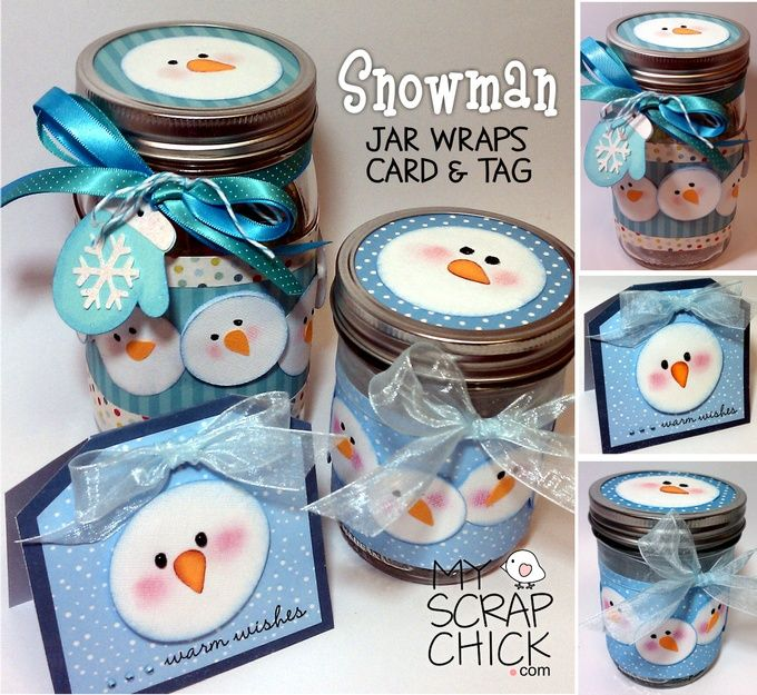 Snowman Jar Wraps, Card & Tag