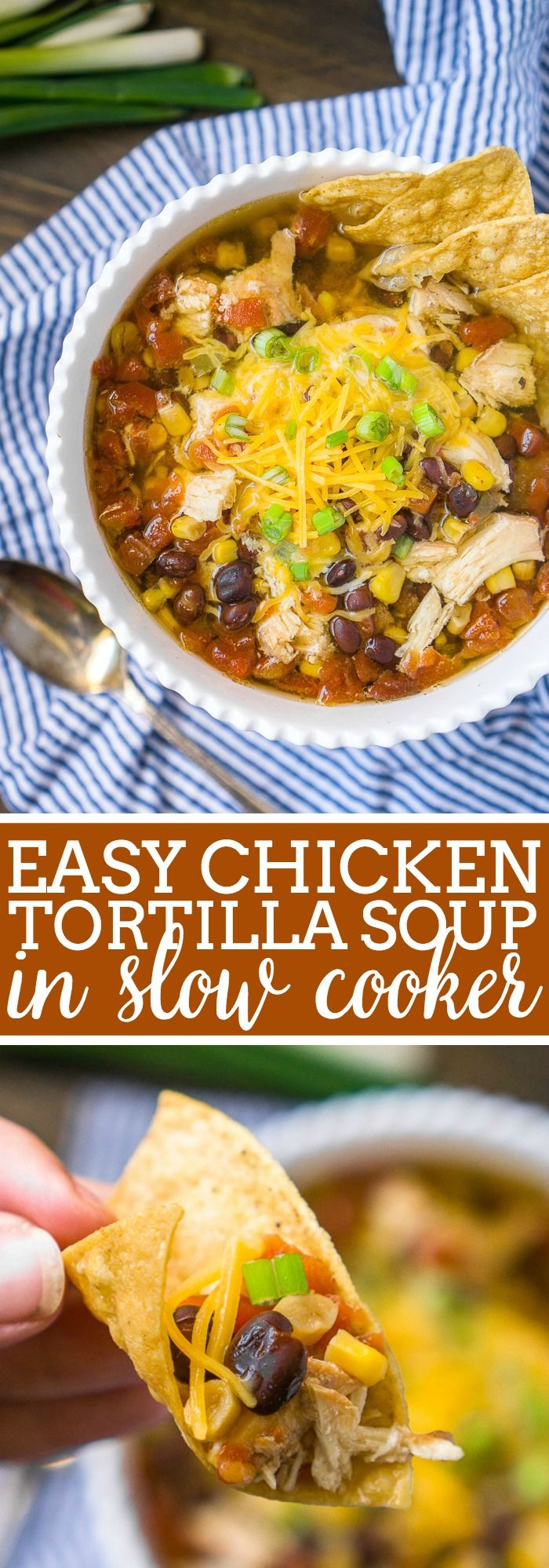 Easy Chicken Tortilla Soup Recipe in the Slow Cooker with10 minutes of prep work! Hearty and flavorful with chicken, veggies and spices! Optional Toppings, including the tortilla chips added individually for anyone with a gluten free diet, make it easy to make a fun soup bar for any guests! | The Love Nerds #chickensoup #chickentortillasoup #slowcookersoup  via @lovenerdmaggie
