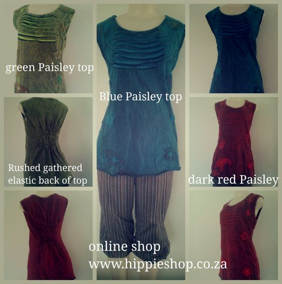 Paisley sleeveless tops, Red, Green, Blue  medium to XXL sizes,  Rushed elastic back for comfort and style- Wonderful quality fabrics -  hand embroidered details  medium size up to XXL big style cut. slightly stretchy,  looks great and good length for wearing with jeans, shorts, skirts etc.  Unusual clothing for unusual, unique people - pick your favourite color and we will send it to you by airmail - 10 -15 days postal time. | Shop this product here…