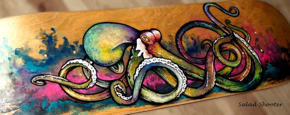 Custom Skateboard Art - Octopus Painting - Made to order commission piece - Fine Art - FREE SHIPPING on Etsy. It looks like just custom art on bought boards.