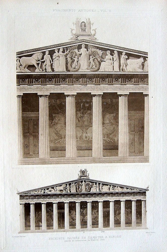 5 ~ DEMETER TEMPLE ELEUSIS Greece ~ Old 1905 Architecture Detail Art Print RARE!