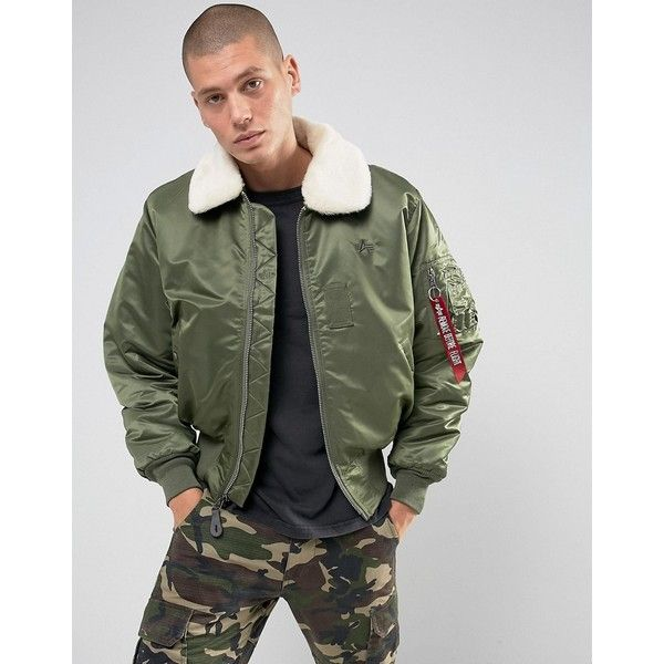 Alpha Industries B15 Faux Shearling Collar Bomber Jacket in Sage Green (£190) ❤ liked on Polyvore featuring men's fashion, men's clothing, men's outerwear, men's jackets, green, mens military field jacket, mens green military style jacket, mens tall jackets, mens leather field jacket and mens leather bomber jacket