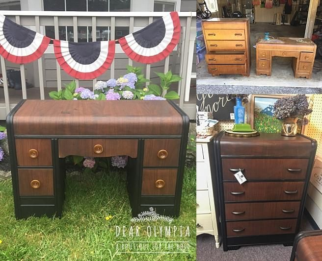 Refinished Antique Waterfall Dresser And Desk Fusion Mineral