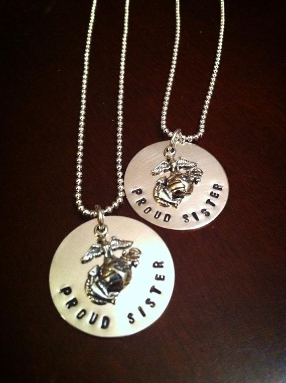 Support your favorite troops with the Proud Sister United States Marine Corps Hand Stamped Sterling Silver Necklace by JMPaperieAndGifts, $49.95 #usmc #marinesister