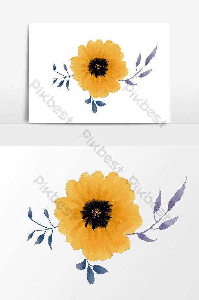 Cartoon Hand Painted Yellow Flower Pattern Flower Graphic