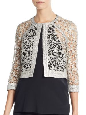 KAY UNGER Sequined Lace Jacket. #kayunger #cloth #