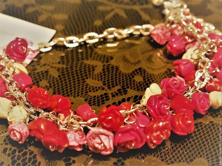 Купить Колье Розы - ярко-красный, колье, колье ручной работы, украшение, украшение на шею