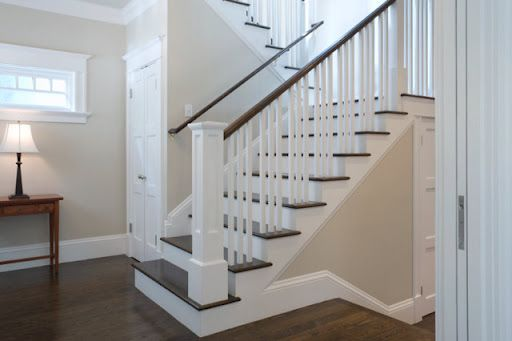 Wall color option ~ Edgecomb Gray. Similar staircase arrangement.
