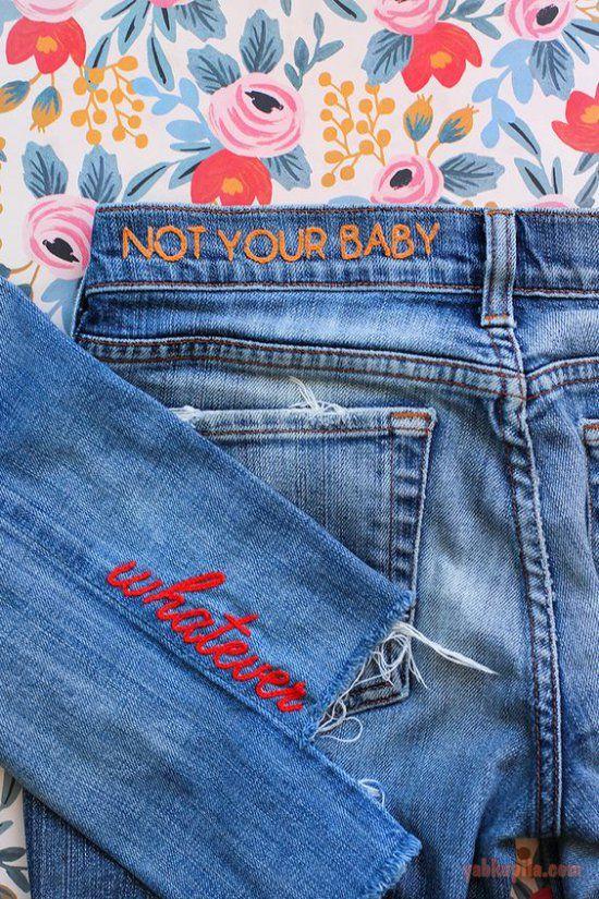e5ee5c69be7 Модные джинсы с вышивкой  идеи на 31 фото