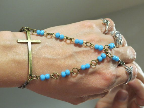 Beaded Cross Slave Bracelet Ring Religious by TheMysticalOasisGlow, $25.00