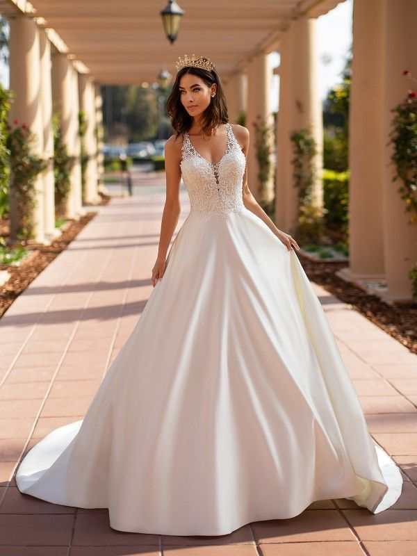 Moonlight Collection S J6742 Satin A Line Bridal Gown A Line Bridal Gowns Satin Wedding Gown Wedding Dresses Lace
