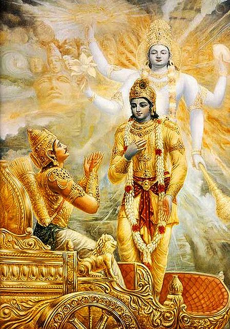 Arjuna with Krishna (Vishnu in the background)