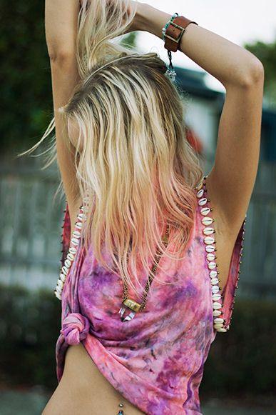 Cowrie Shell Tie Dye Tee - tropical, comfortable,  colorful, sexy summer look #sassytshirts