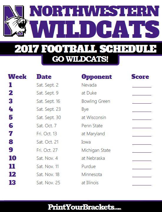 2017 Northwestern Wildcats Football Schedule