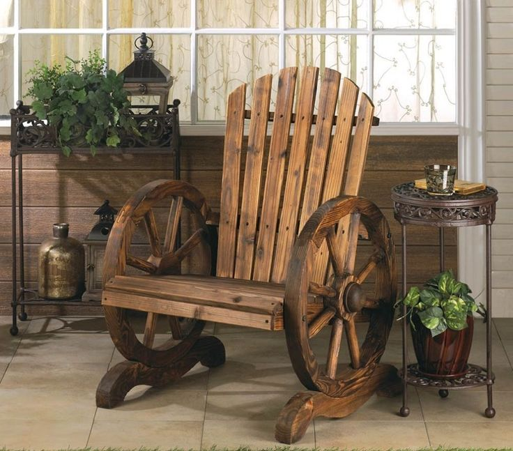 Country Rustic Wagon Wheel Wood Adirondack Chair Seat Bench Western Southwestern #WorldofProducts #Country