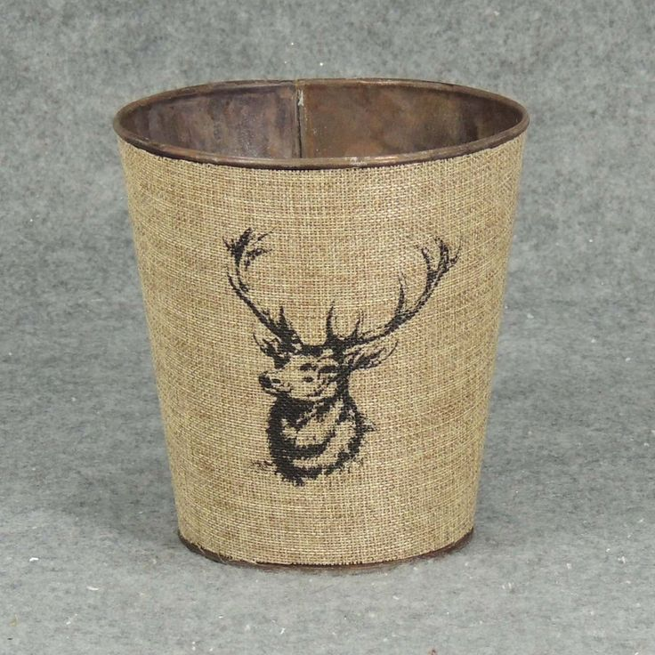 """1 Pc, 5.5"""" Wide & 6"""" Tall Elk Planter With Liner Primitive/Outdoor Style Winter Decorations, Grey metal, Outdoor Décor"""