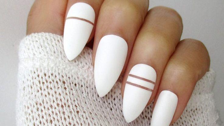 White Almond Shaped Nails