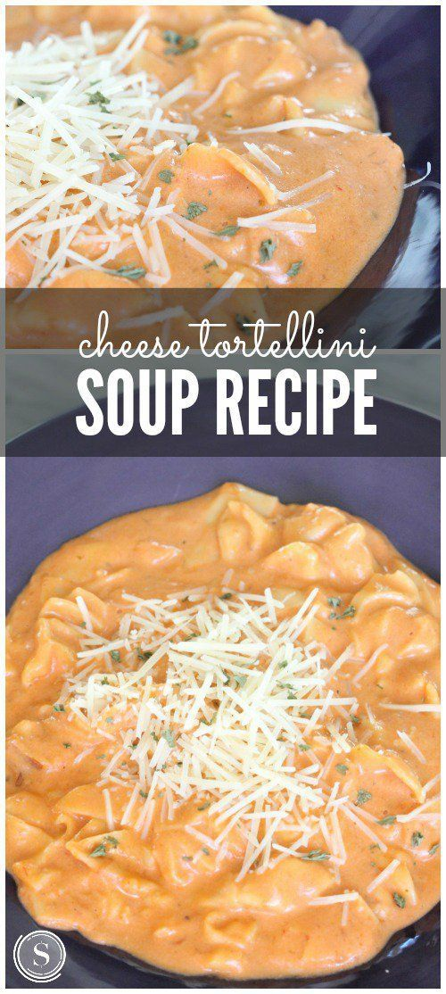 Cheese Tortellini Soup! Easy dinner and slow cooker crockpot recipe! Party meals or family dinner night!