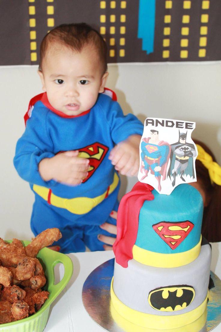 superhero baby & superhero cake