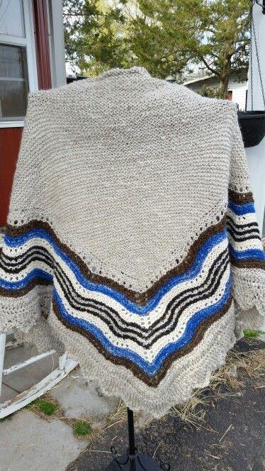 Hap shawl from our Shetland sheep and llamas.