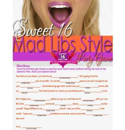 FREE Sweet 16 Mad Libs Style | Sweet 16 Party Store