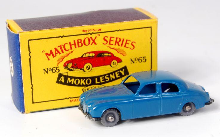 Lot 2376 - Matchbox, 1-75 series, No.65 3.4 litre Jaguar, blue body, silver rear number plate, GPW (M,BM)