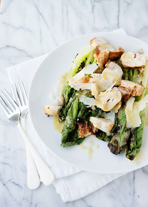 grilled chicken caesar salad by baked bree
