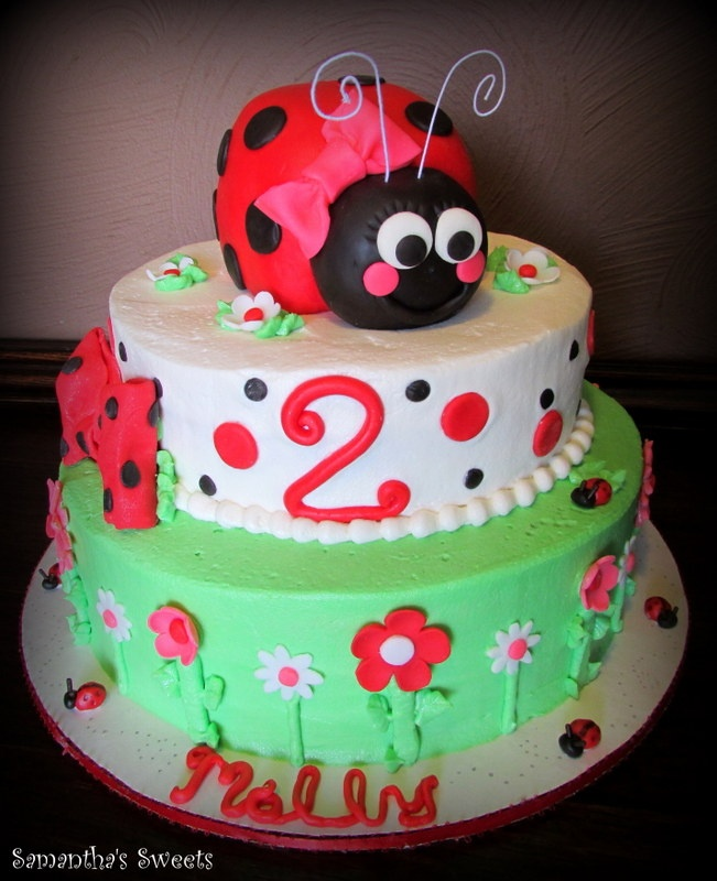 Ladybug Birthday Cake - This ladybug birthday cake by Samantha's Sweets, was originally designed by Chantilly Cake Designs.  The topper is made from cereal treats and fondant.  Frosted and fondant accents adorn this tiered cake.