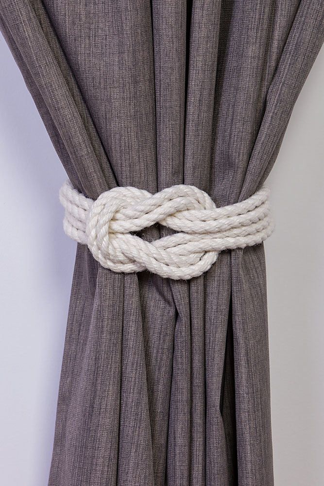 Cotton Rope Double Square Knot Nautical Curtain Tie-Backs/ Shabby Chic Ivory White Curtain hold-Backs / Nursery Window Treatment / Rope Ties by AndreaCookInteriors on Etsy https://www.etsy.com/uk/listing/472149691/cotton-rope-double-square-knot-nautical