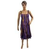 New Hippie Boho Gypsy Blue Cotton Indian Ethnic Print Womens Spaghetti Smocked Skirt Dress (Apparel)  #Dress